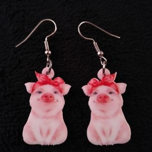 New - Earrings - Pig
